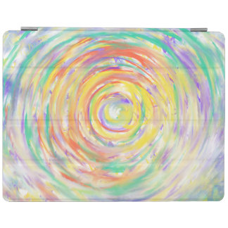 Colourful Watercolour Spiral Abstract Art Painting iPad Cover