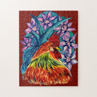 Colourful Watercolour Year of the Rooster Jigsaw Puzzle