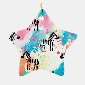 Colourful watercolour zebra print christmas ornament