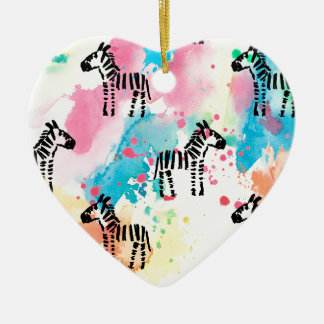 Colourful watercolour zebra print christmas ornament