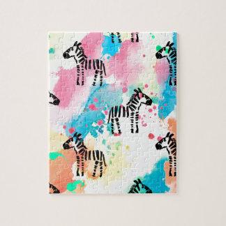Colourful watercolour zebra print jigsaw puzzle