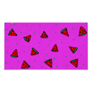 colourful watermelon pink poster