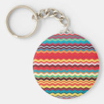 Colourful Wave Zig Zag Pattern Basic Round Button Key Ring