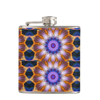Colourful waves hip flask