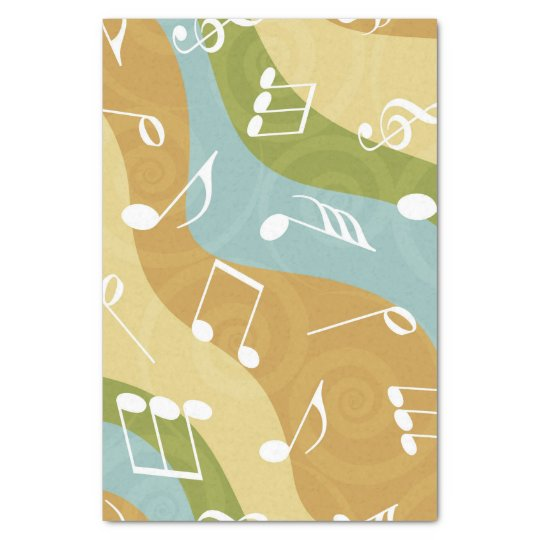 Colourful waves of Music Notes Tissue Paper