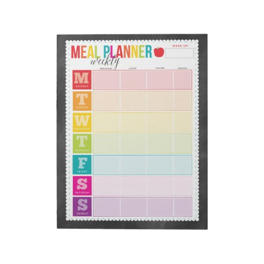 Colourful Weekly Meal Planner Large Notepad