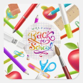 Colourful Welcome Back to School Square Square Sticker