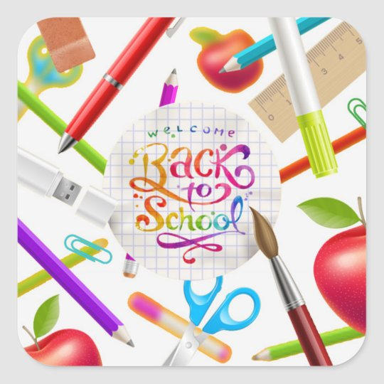 Colourful Welcome Back to School Square Square Sticker