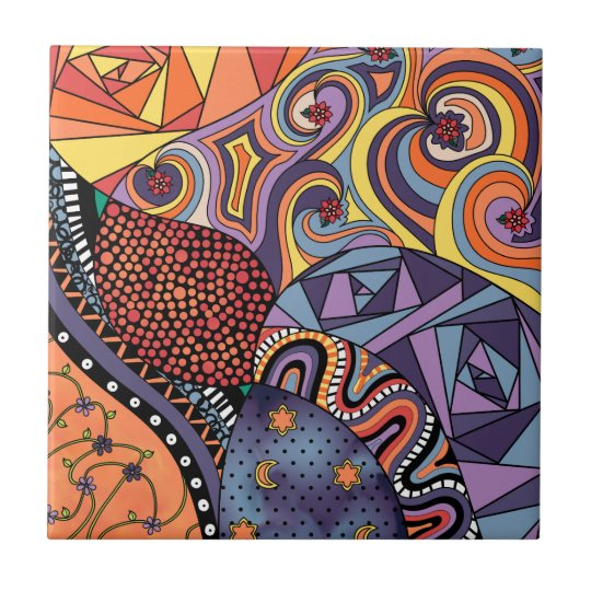 Colourful Whimsical Doodle Abstract Pattern Small Square Tile