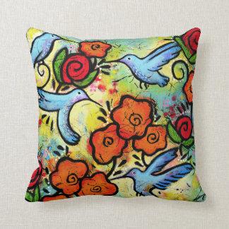 Colourful Whimsical Hummingbird Wildlife Animals Cushion