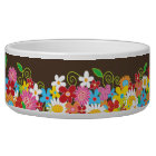 Colourful Whimsical Spring Flowers Garden Pet Bowl