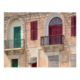 Colourful Window Shutters in Malta Postcard