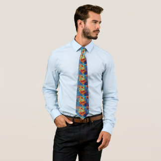 Colourful Wolfhound Profile Mens Tie - Large image