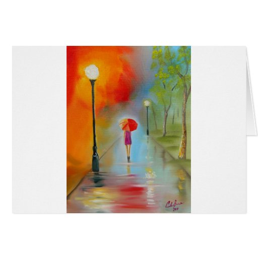 Colourful woman with a red umbrella greeting card