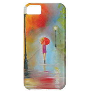 Colourful woman with a red umbrella iPhone 5C case