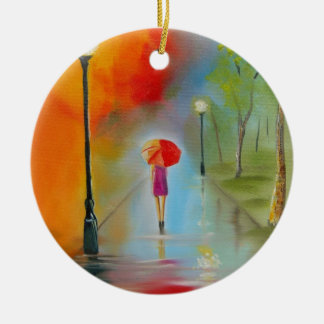 Colourful woman with a red umbrella round ceramic decoration