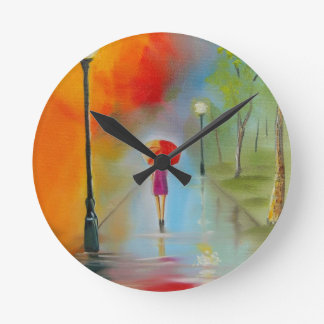 Colourful woman with a red umbrella round clock