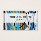 Colourful wood chevron pattern #6 business card