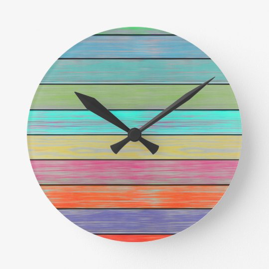 Colourful Wood Planks Round Clock
