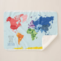 World map blankets bed blankets zazzle uk colourful world map baby blanket gumiabroncs Images
