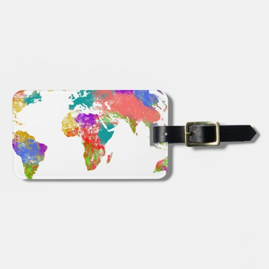 Colourful world map luggage tag
