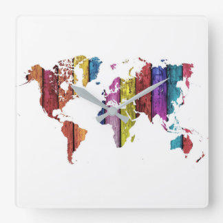 Colourful World Map Wall Clock