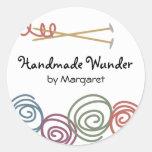 colourful yarn balls knitting needles gift tag s.. round sticker