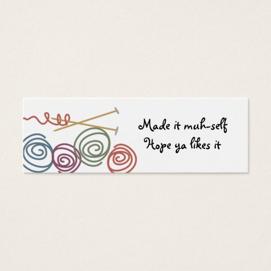 colourful yarn balls knitting needles gift tags