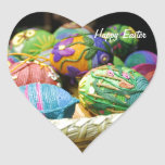 Colourful Yarn Decorated Easter Eggs Heart Sticker