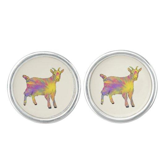 Colourful Yellow Flaming Art Goat Animal Design Cufflinks