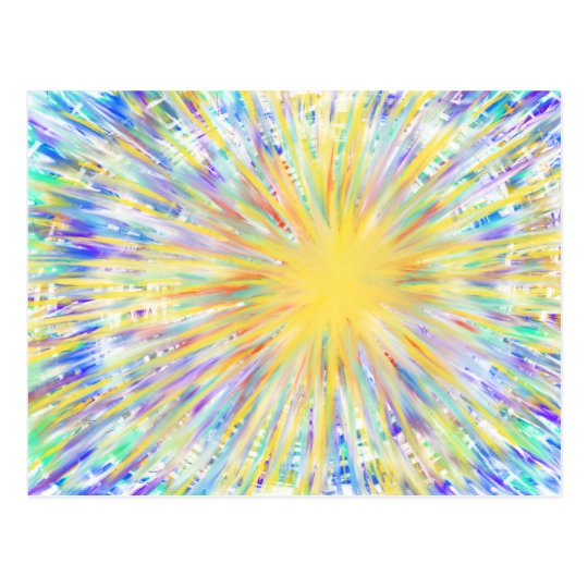 Colourful Yellow Starburst Abstract Art Design Postcard