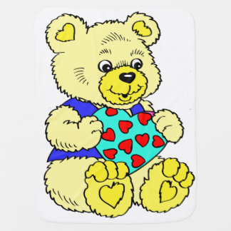 Colourful Yellow Teddy Bear Baby Blanket