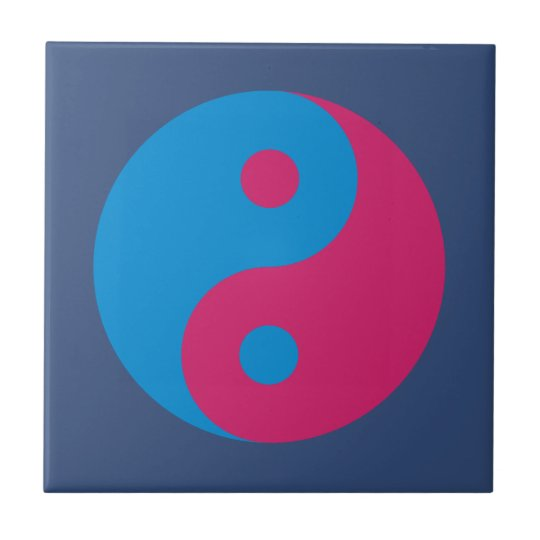 Colourful Yin Yang Harmony Blue and Pink Tile