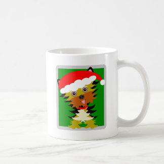 Colourful Yorkshire Terrier Cartoon Santa Hat Coffee Mug