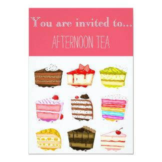 Colourful yummy cakes afternoon tea party 13 cm x 18 cm invitation card