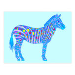 Colourful Zebra Dots And Stripes Art Postcard