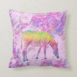 colourful zebra throw pillow