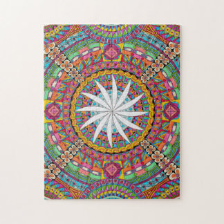 Colourful zendala with white centre jigsaw puzzle