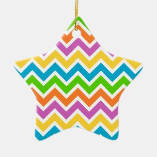 Colourful Zigzag pattern Ceramic Star Decoration