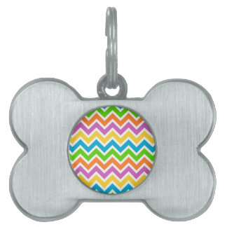 Colourful Zigzag pattern Pet Name Tag