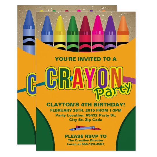 Colouring, Crayon Birthday Party Invitations
