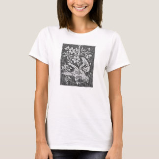 Colouring tee shirt with needlework design