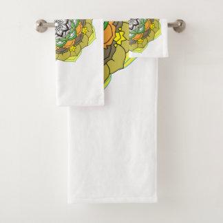 Colours Flower Mandalas. Vintage decorative elemen Bath Towel Set