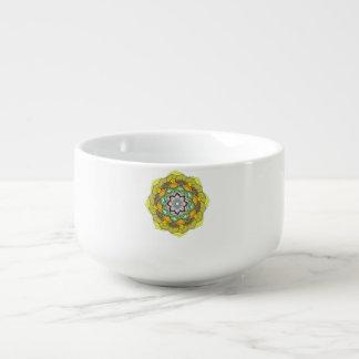 Colours mandala decorative element. soup mug