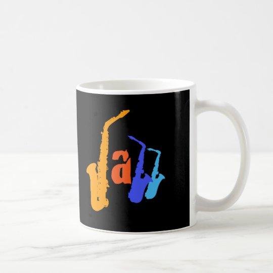 Colours of Jazz Sax Illustration Black Mug 2