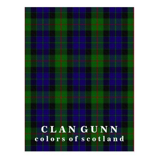 Colours of Scotland Clan Gunn Tartan Postcard