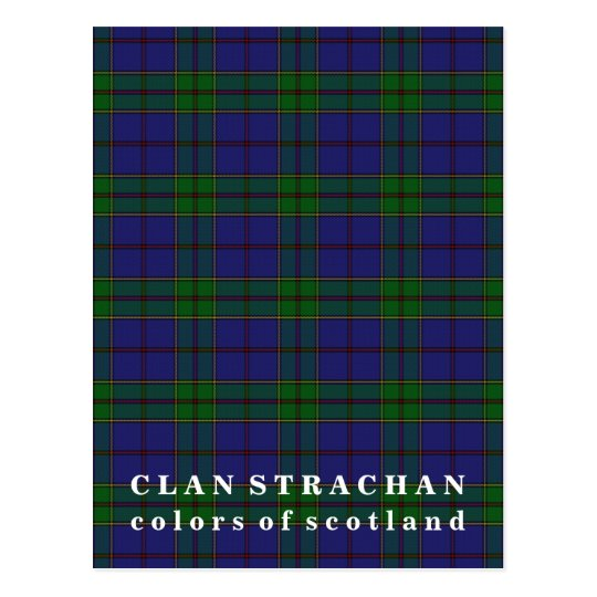 Colours of Scotland Clan Strachan Tartan Postcard