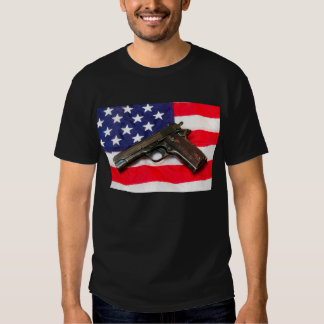 Colt 1911 on US Flag T-shirt