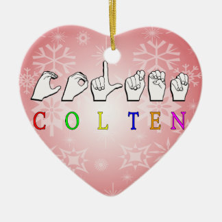 COLTEN FINGERSPELLED ASL NAME CERAMIC HEART DECORATION