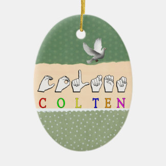 COLTEN FINGERSPELLED ASL NAME Double-Sided OVAL CERAMIC CHRISTMAS ORNAMENT